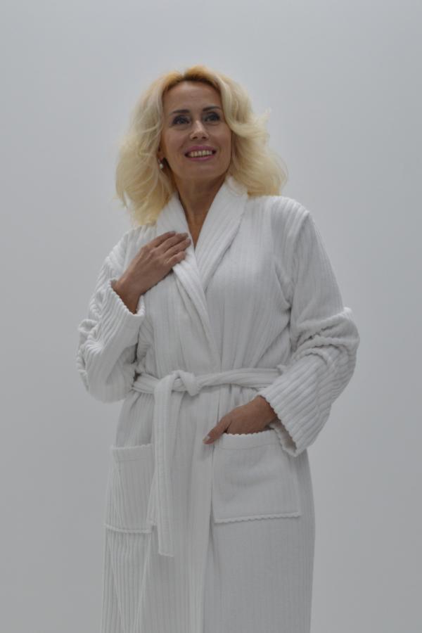 Robe de banho felpo 100% Algodão branco riscas