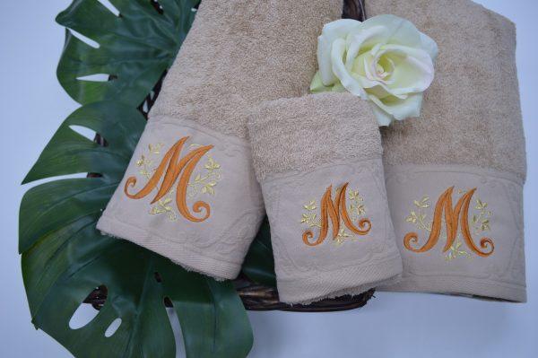 toalhas com barra jacquard e bordado, bege