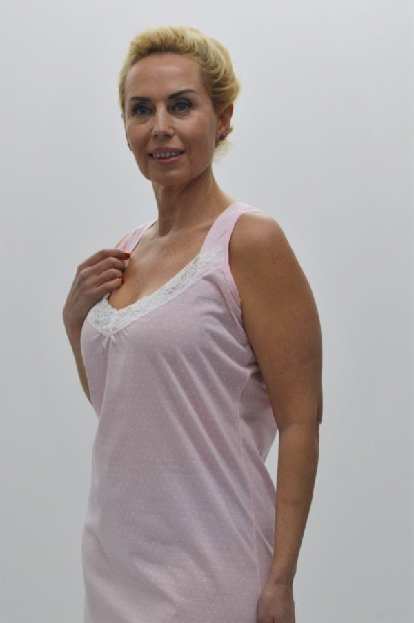 Camisa de noite com alças largas e decote em renda, Rosa
