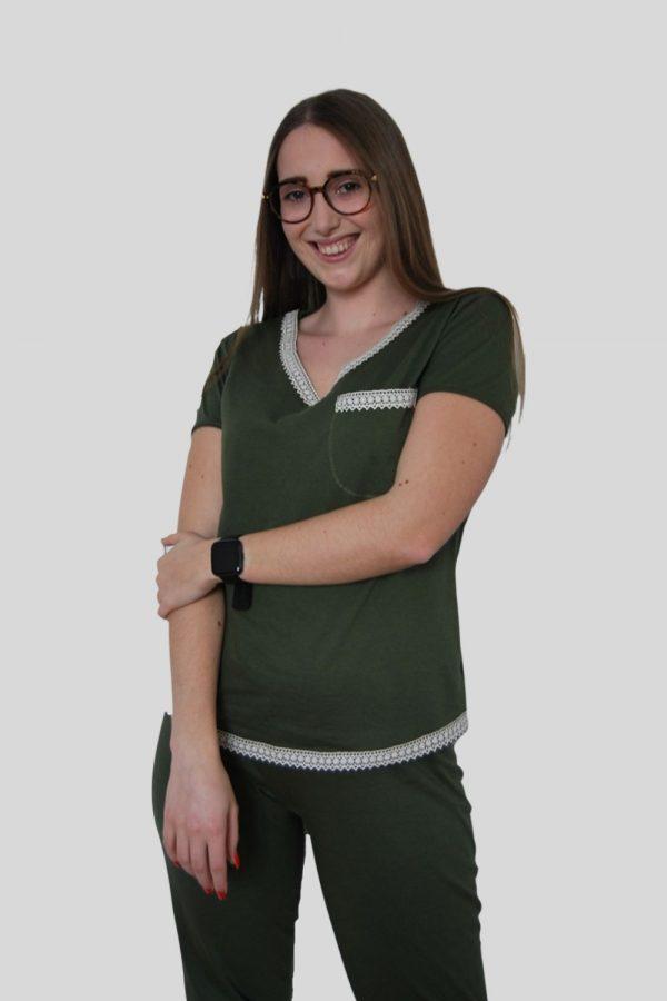 Conjunto T-shirt e calças em Jersey e detalhes em renda de algodão orgânico, Verde Kaki