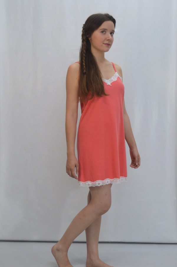 Camisa de alças reguláveis, Turquesa / Coral